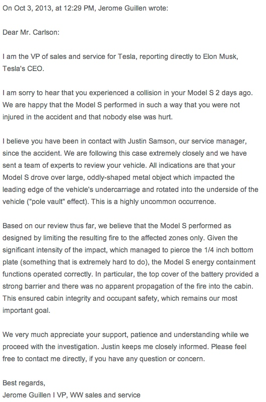 Email from Tesla
